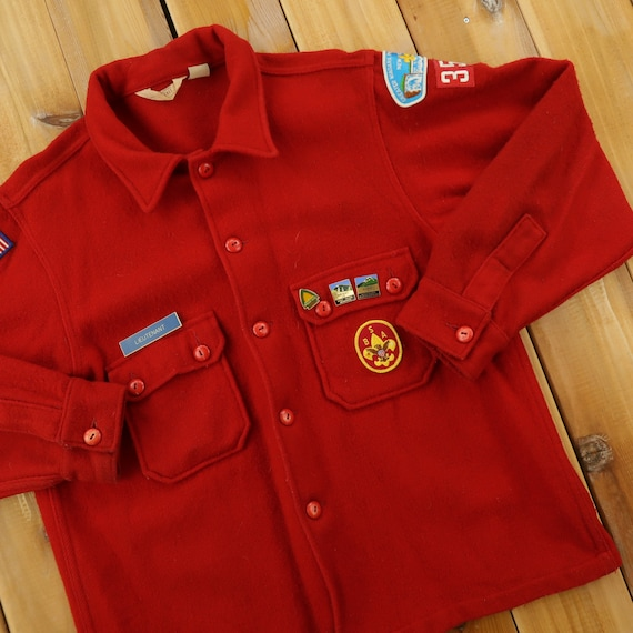 BSA Boy Scout of America Official Patched Wool Shi