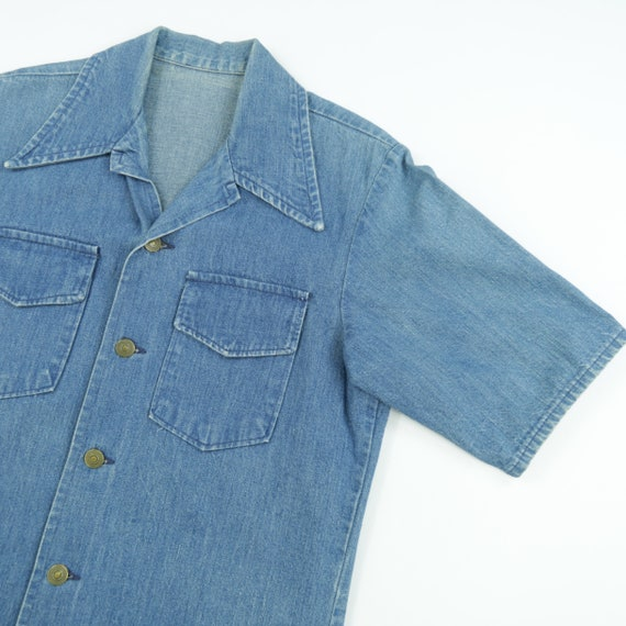 Vintage Short Sleeve Denim Button Down Shirt
