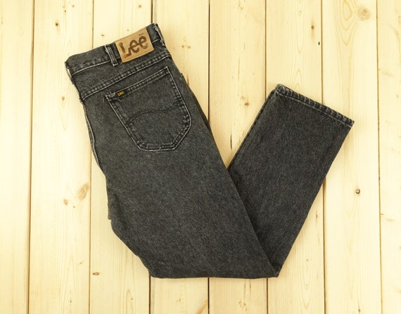 Lee Riders Vintage Light Wash Black Denim Pants Si