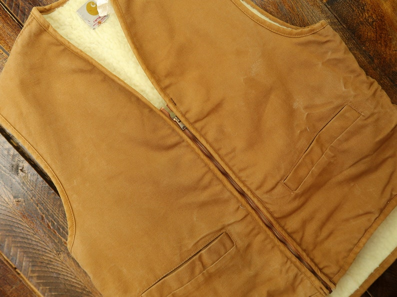 70s Carhartt Sherpa Lined Vest Size Large G6