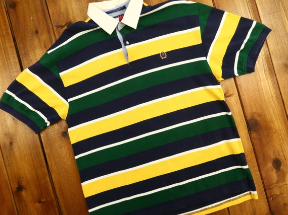 90s Tommy Hilfiger Striped Polo Shirt Size Large D