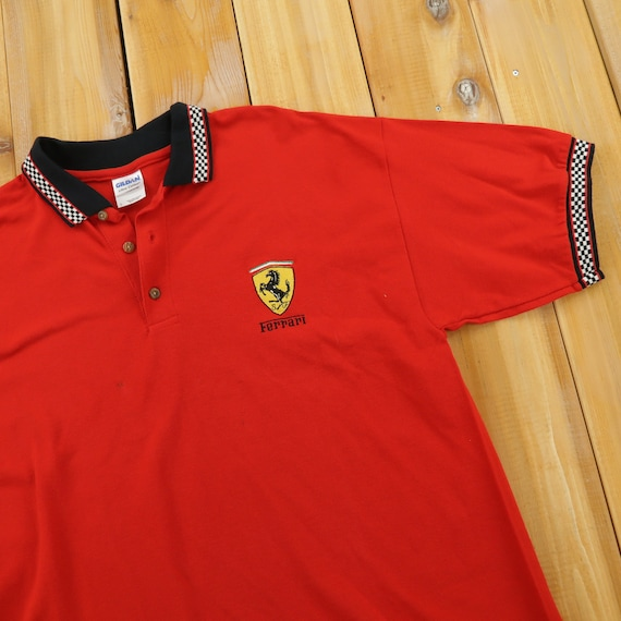 Ferrari Racing Checkered Flag Collared Vintage 90s