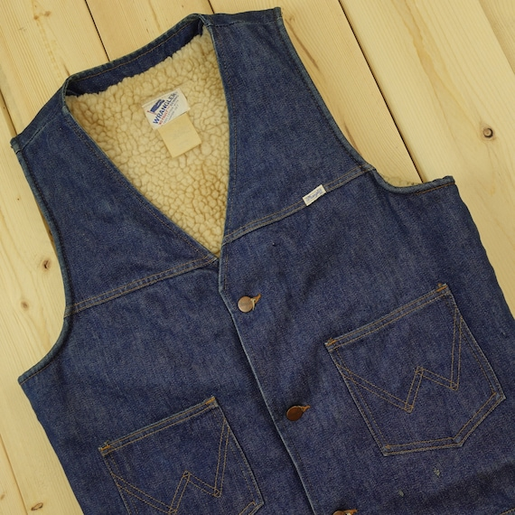 Wrangler 70s Sherpa Lined Denim Vest Size Medium D