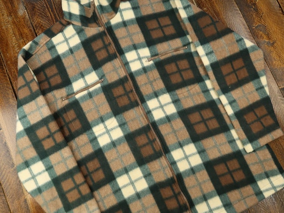 Details Sportswear Vintage Plaid Zip-Up Fleece Siz