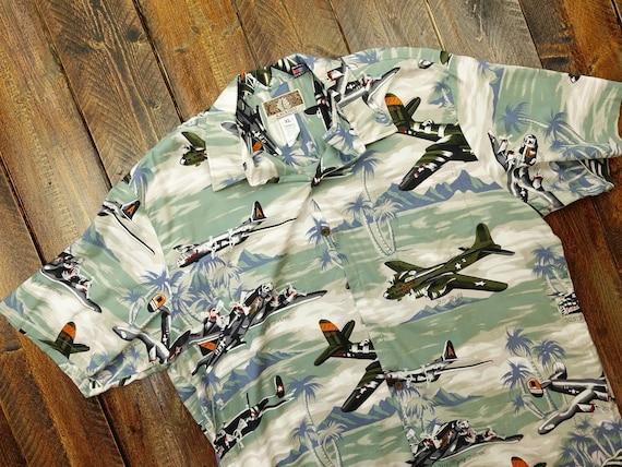Made In Hawaii Men/'s Hawaiian Aloha Shirt Airplane Jet Fighters Palms In Green
