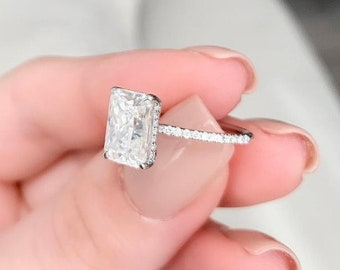2.50 Ct Radiant Cut Moissanite Ring / Radiant Engagement Ring/ Promise Ring / Unique Wedding Ring / 14k White Gold Rings / Anniversary Rings