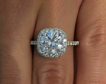 Mothers Day Sale Round Moissanite Engagement Ring Round Halo Diamond Ring Anniversary Ring for Her Moissanite Promise Ring on Etsy