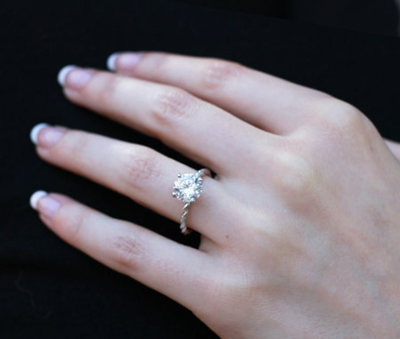 2 CT Round Moissanite Wedding Ring  Brilliant cut Engagement Ring  Twisted rope Engagement ring  4 Prong diamond Solitaire Ring