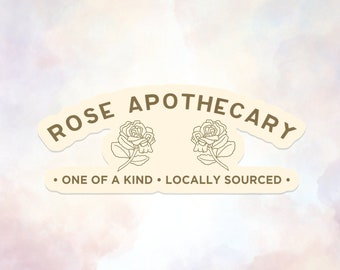 Rose Apothecary Label Die Cut, Matte and Clear Waterproof Paper