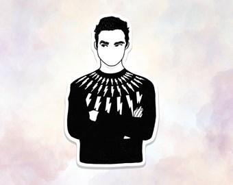 David Rose Sweater Sticker, David Rose Lightning Bolt Sweater Sticker