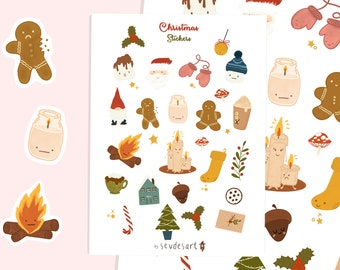 Christmas Sticker Sheets, Christmas Holiday Sticker Set, Cute Christmas Stickers, Kawaii Stickers