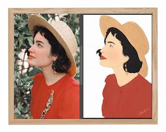 Custom Digital Gift, Portrait from Photo, Personalized Portrait Family, Custom Couple Present, Valentines Day