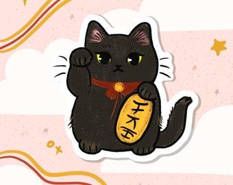 Lucky Cat Die Cut Sticker, Maneki Neko Cat Sticker, Waterproof Vinyl Paper