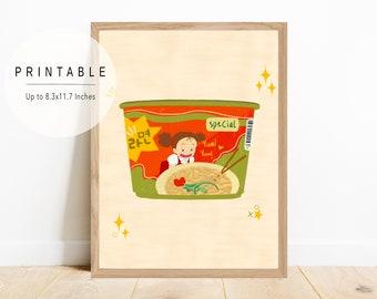 Cute Ramen Bowl with Mei Art Print, Food Art, Cute Printable Artwork