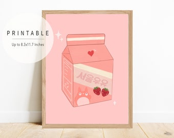 Strawberry Milk Art Print, Cute Korean Style Art