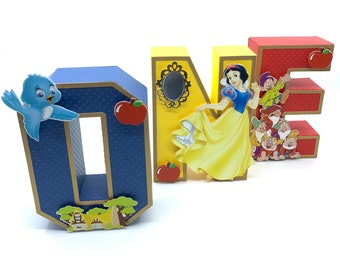 Snow White Party Decoration, Snow White 1st birthday, one letters 3D