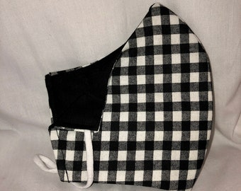 Black and White Gingham Face Covering