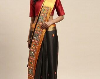 Indian Designer Saree Wedding Saree Bridal Saree Saree For Women  Saree Blouse Embroidery /& Real Mirrors Kutchi Hand Work