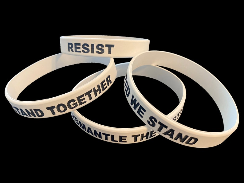 Black Lives Matter Wristband Custom Protest Silicone Bracelets We Stand Together No Justice No Peace Dismantle The System