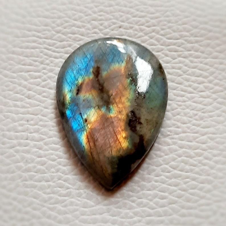 38\u00d727\u00d76 Very Beautiful pink Blue Multi Fire Labradorite Gemstone pear Shape 62.00 Cts Hand Polish Best For Loose Cabochon