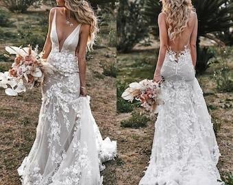 Boho Wedding Dress, Lace Bridal Dress, 3D Flowers Mermaid Wedding Dresses, Spaghetti Straps Backless Wedding Dress, Light Grey Bridal Gown