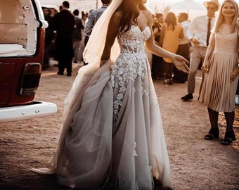 Lace Wedding Dress, Tulle Wedding Dress, Floral Wedding Gown, Sheer Off shoulder Dark Gray Bridal Dress, Beach Wedding Dress