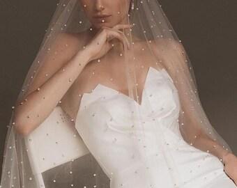 Next Day Ship, Pearl Wedding Veil, Beaded Bridal Veil, Vintage Lace Bridal Veil, Chapel Veil, Cathedral Wedding Veil with Comb