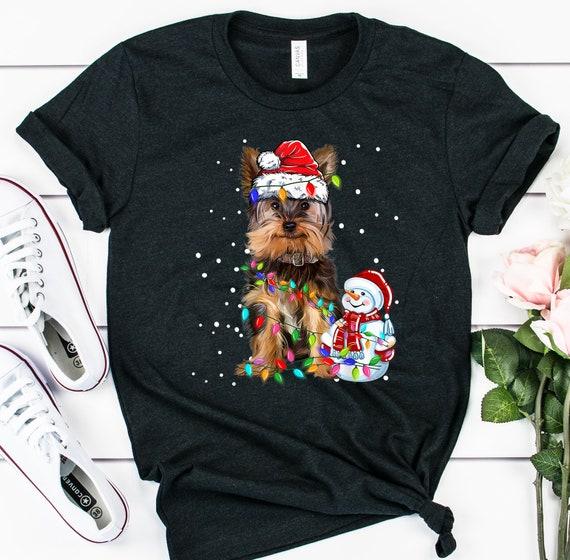 Christmas Light Tree Funny Corgi Dog Light Tree T-shirt Santa Hat Shirt Christmas Shirt Corgi Dog Lover Shirt Christmas Party Shirt