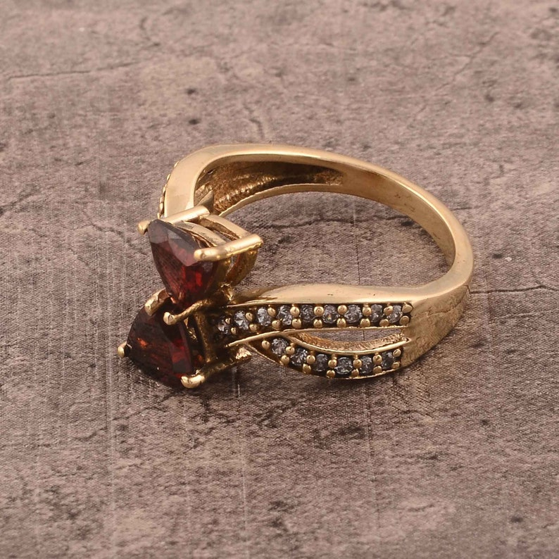 boho ring,vintage ring,unique ring Garnet brass ring handmade ring,women ring Trillion shape gemstone Red garnet ring