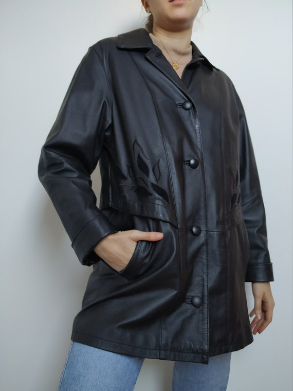 Vintage leather coat;black leather button up; 90s;