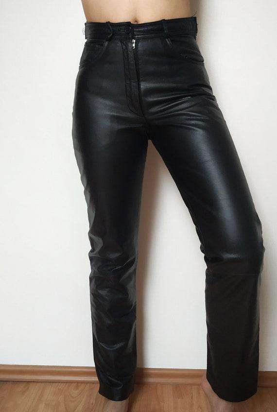 Vintage black leather pants leatheaisted leather p
