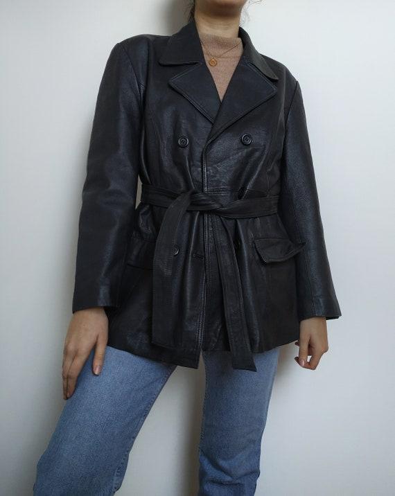 Vintage leather coat black leather button up doubl