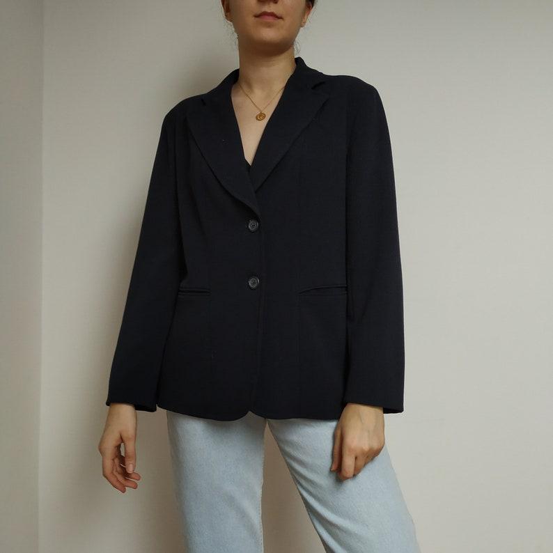 Vintage wool blazer; wool oversized blazer; navy blue suit; navy blue blazer; dark blue blazer women; oversized women blazer; wool suit