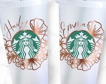 24oz Venti Cold Cup Flower Starbucks SVG, Starbucks Cup Floral Decal, Starbucks Cut File