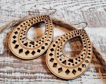 Natural Wood Filigree Teardrop Earrings Hippy Earrings Boho Earrings Womens Earrings Girls Earrings Womens Gifts Girls Gifts Birthday Gifts