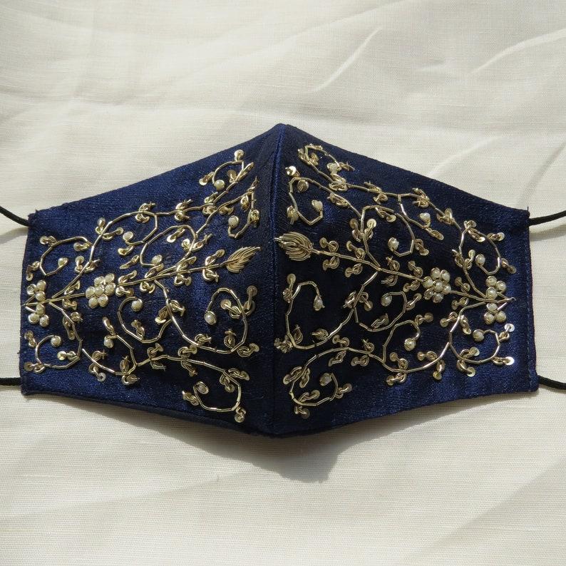 navy blue raw silk fabric zardosi embroidered bridesmaid image 0