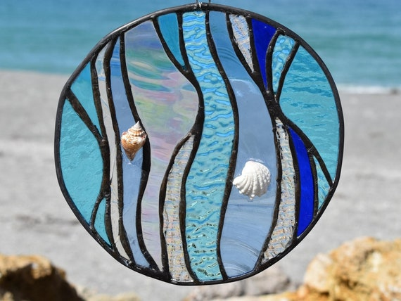 fused glass blue wave with seashells
