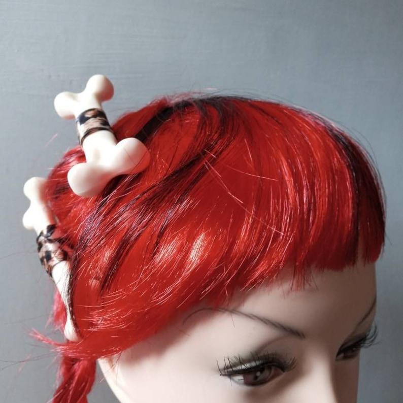 Gothic Skeleton Bone Fl\u00edntstone Hair Clip Skull Hair Barrette Hair Barrette Eyeball Ojo Halloween Horror Psychobilly Steam Pinup