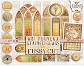Art Nouveau Stained Glass Fussy Cut Set2, Digital Kit, Scrapbook Vintage, Digital Images, Junk Journal, Ephemera Printable