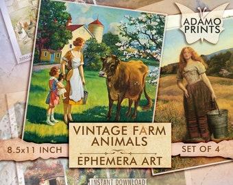 Vintage Farm Animals, Ephemera Junk Journal, Ephemera Classics, Painting, Digital Images, Scrapbook Ephemera, Printable Images, Download