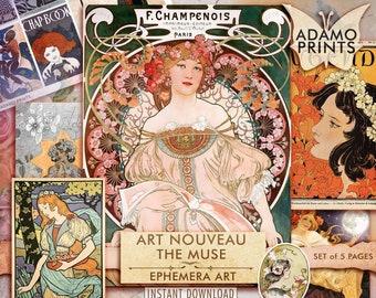 Art Nouveau The Muse, Digital, Classic, Paintings, Shabby, Vintage Art, Junk Journal, Ephemera Art, Ephemera Classics, Digital Print