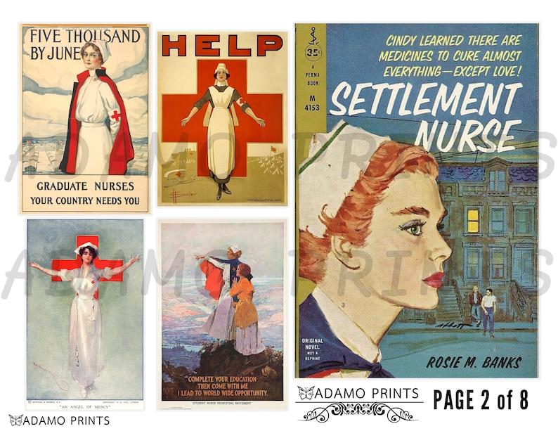 Digital Collage Antique Photo Printable Images Junk Journal Kit Digital Images Vintage Nursing Ephemera Art Scrapbook Kit