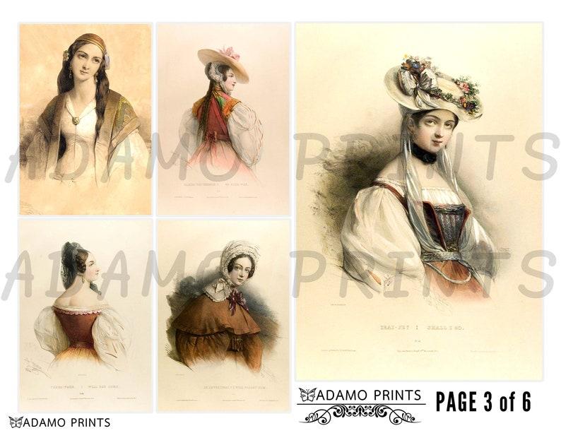 Ephemera Junk Journal Vintage Fashion Women Art Paintings Classic Download Young Victorian Beauty Vintage Art Digital Collage