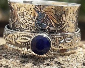 Gemstone Ring, Amethyst Ring, Peridot Spinner Ring, 925 Sterling Silver Ring, Ring For Gift, Mediation Ring, Boho Ring, Promise Ring.