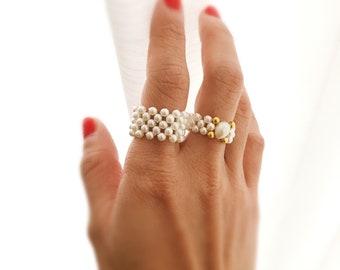 Tiny Ring Minimalist Ring Tiny Beaded Pearls Ring Imitation Pearls Ring Dainty Pearls Ring Pearls Bead Stackable Fat Ring