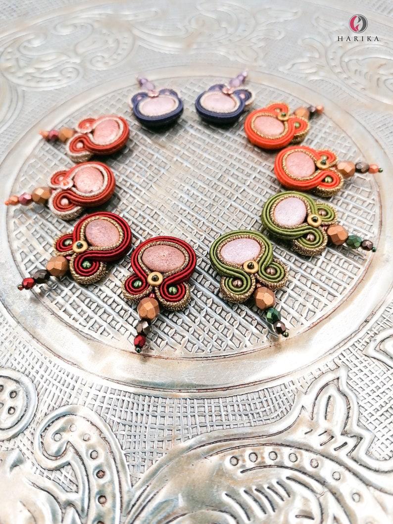gift for her handmade small earrings indigo eand purple color eye catching earrings petite soutache earrings