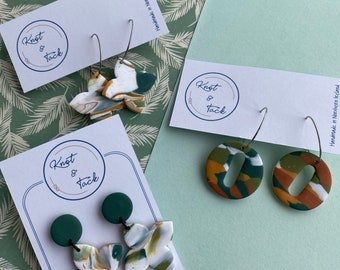 Irish Landcape inspired circle cross hoop style polymer clay earrings in forest green, golden yellow and burnt orange