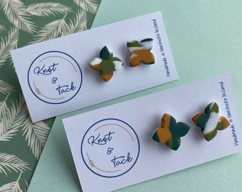 Irish landscape inspired studs polymer clay earrings petal cross forest green, burnt orange and golden yellow