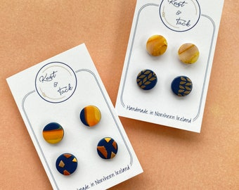 Blue and yellow stud earring packs polymer clay earrings marbled design   birthday gift   small stud   handmade