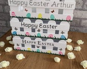 Personalised Eater crate, Happy Easter Box, Easter egg basket, white fence basket, Custom made Easter Crates, Easter Basket, Easter Gift